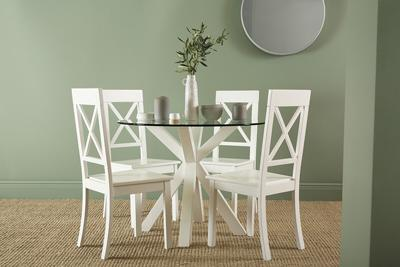 Hatton Round White Wood and Glass Dining Table - with 4 Kendal Chairs