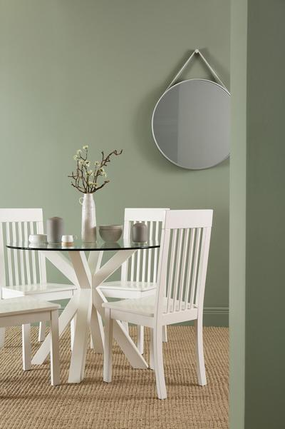 Hatton Round White Wood and Glass Dining Table - with 4 Oxford Chairs