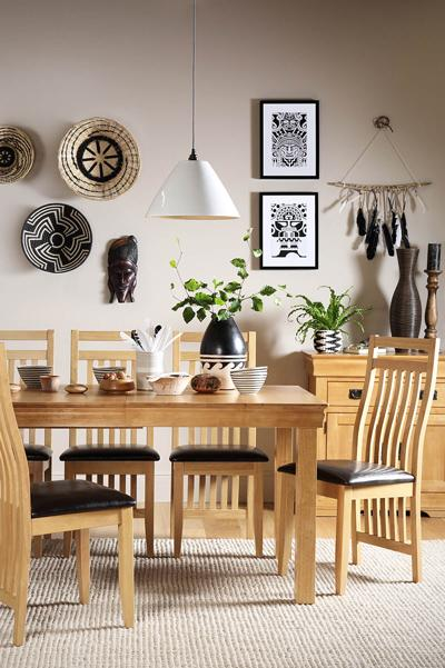 Fenchurch Oak Extending Dining Table - with 6 Bali Chairs (Brown Seat Pad)