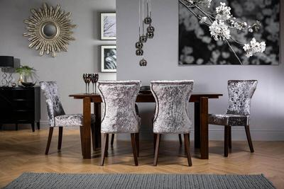 Java Dark Wood Extending Dining Table - with 4 Bewley Silver Chairs