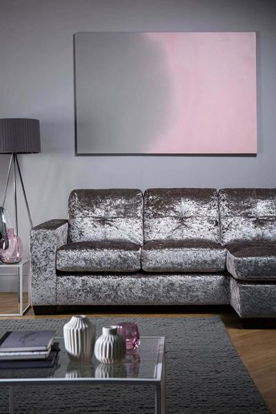 Rio Silver Crushed Velvet L Shape Corner Sofa