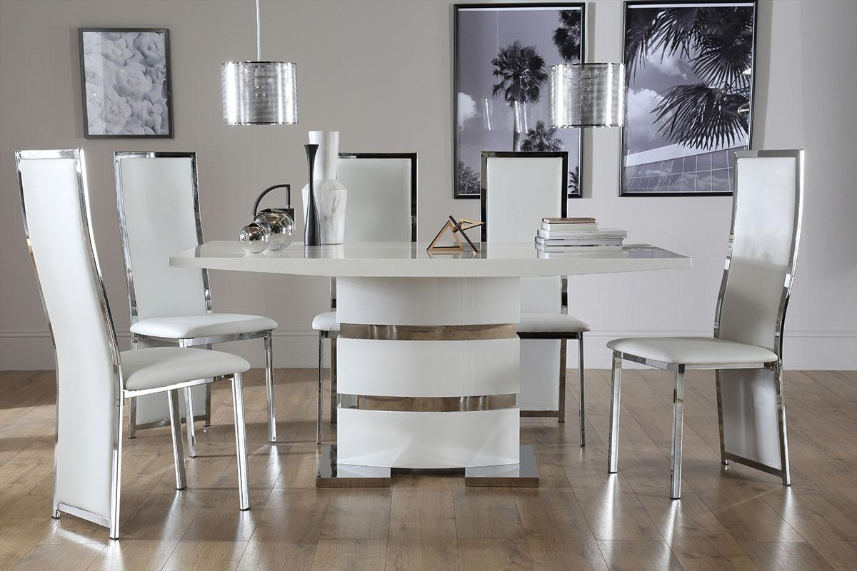 Komoro White High Gloss Dining Table - with 4 Celeste White Chairs