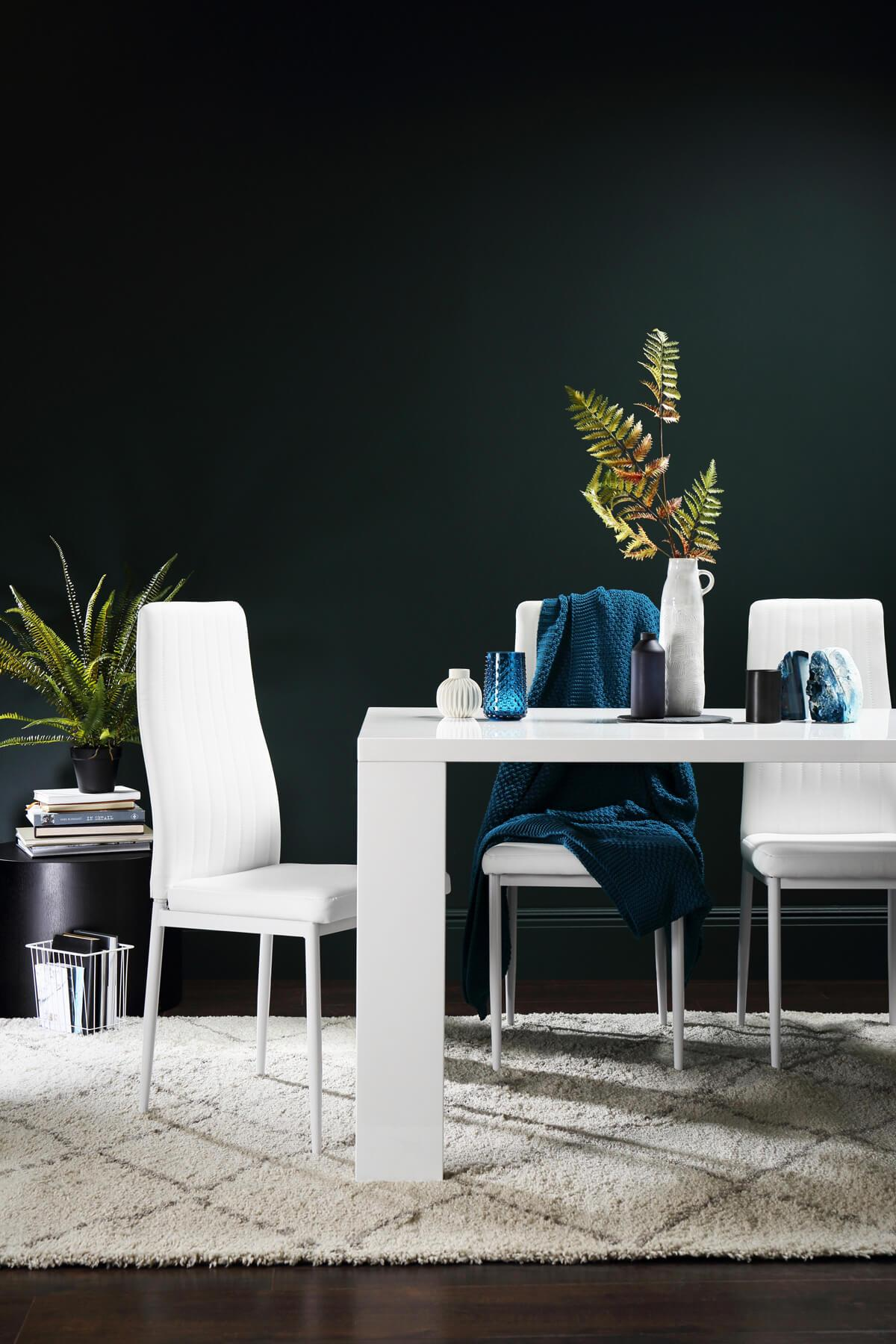 Eden 170cm White High Gloss Dining Table - with 6 Leon White Chairs (White Leg)