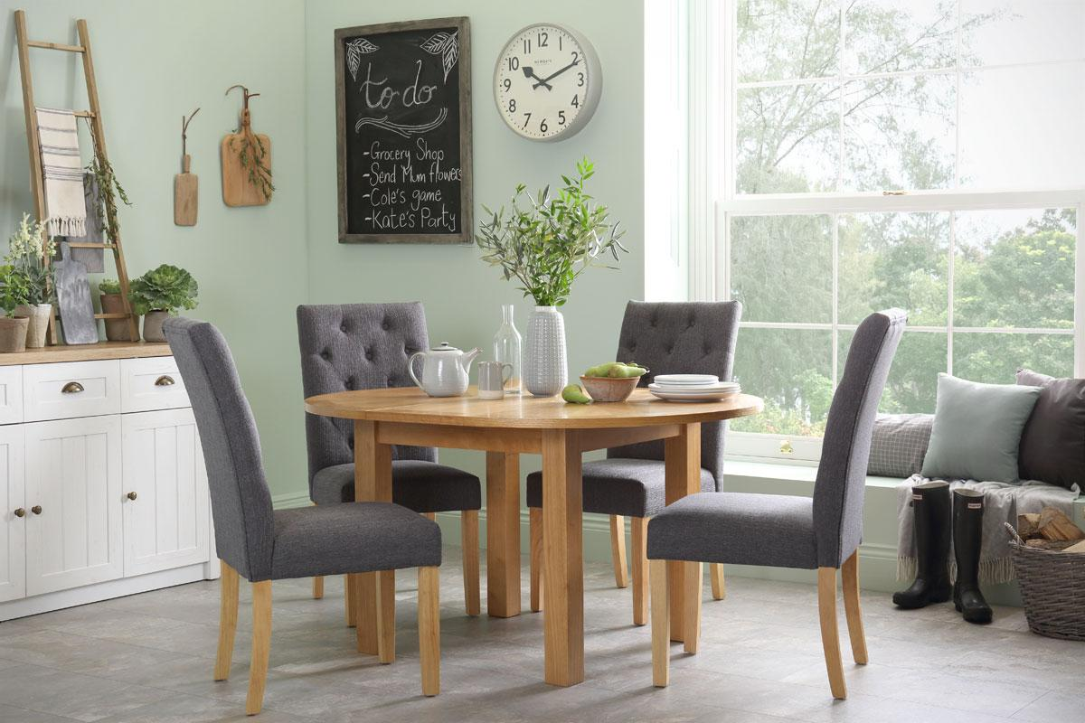 Harrington Round Extending Dining Table - with 4 Hatfield Slate Chairs