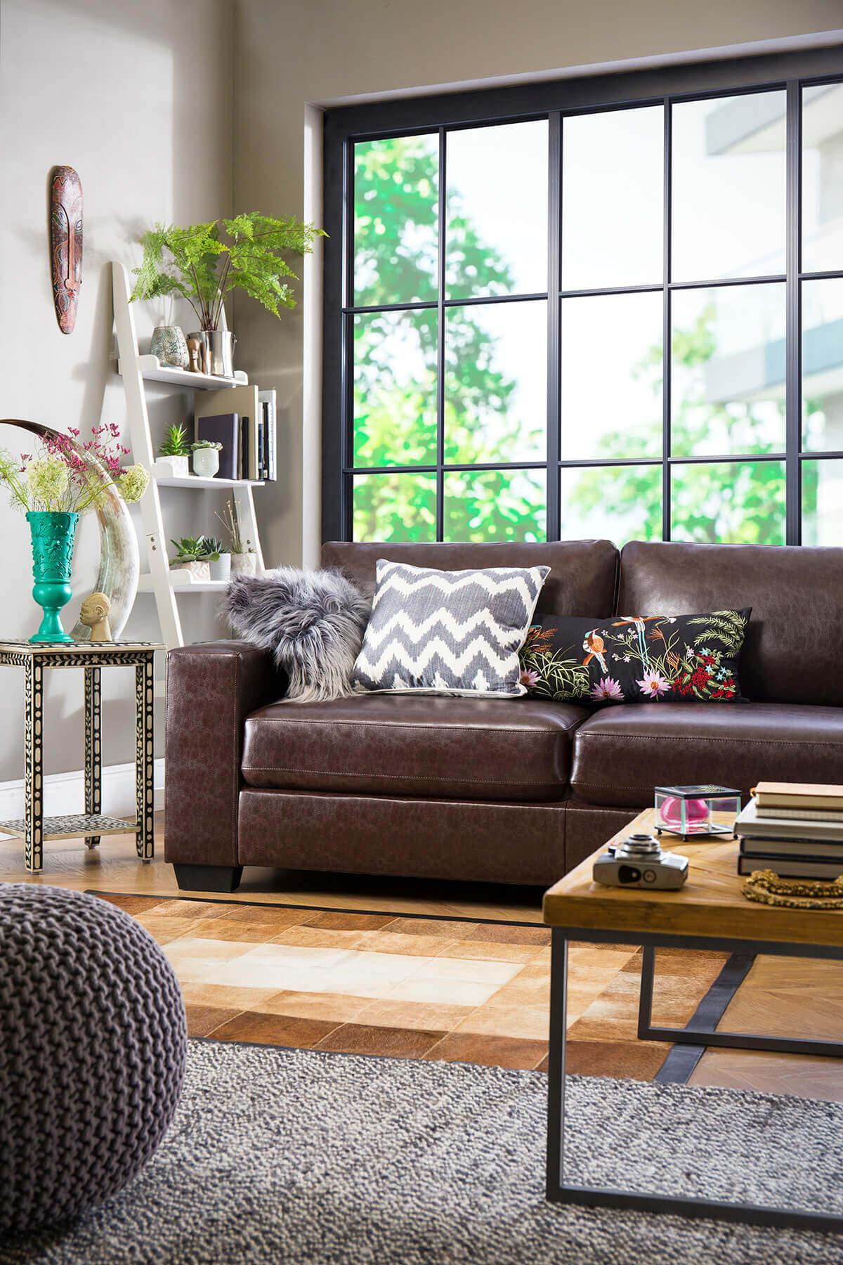 Mission Antique Chestnut Leather Sofa - 3 Seater