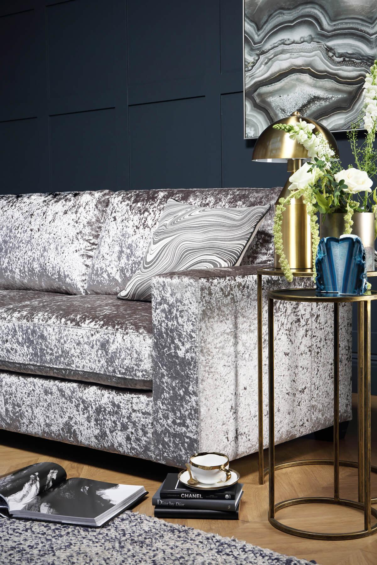 Mission Silver Crushed Velvet Sofa - 3 Seater