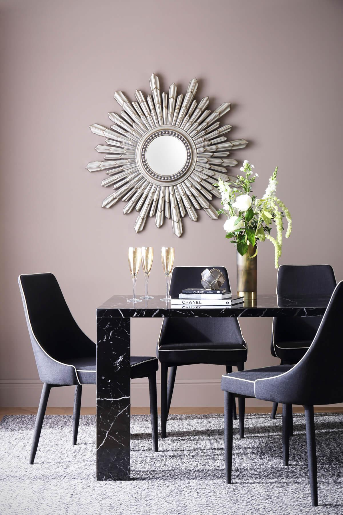 Strata 170cm Black Marble Dining Table - with 6 Modena Black Chairs