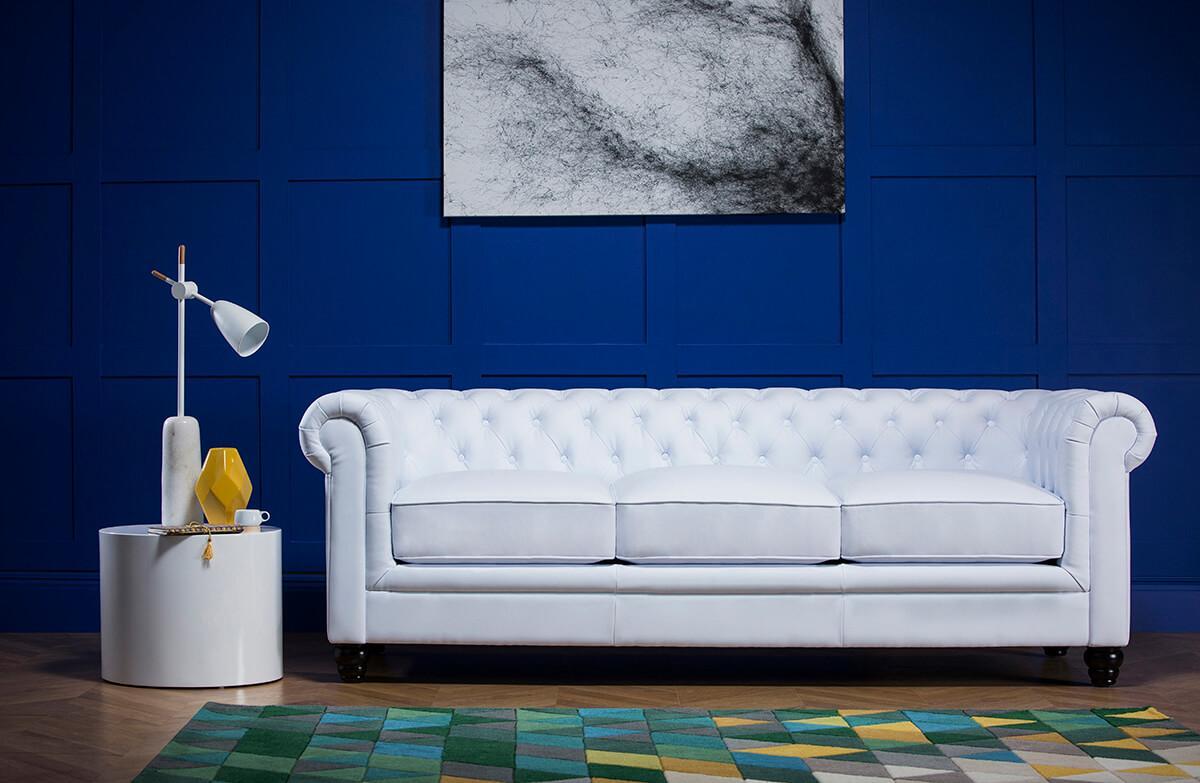 Hampton White Leather Chesterfield Sofa - 3 Seater