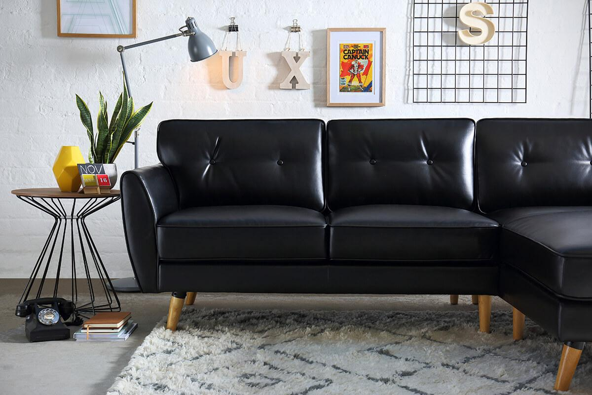 Harlow Black Leather L Shape Corner Sofa - RHF