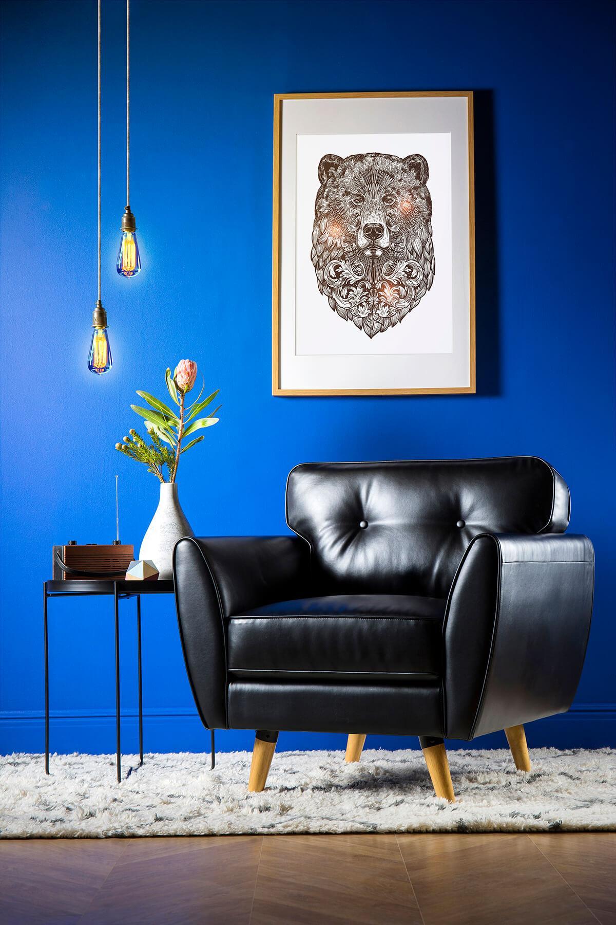 Harlow Black Leather Armchair