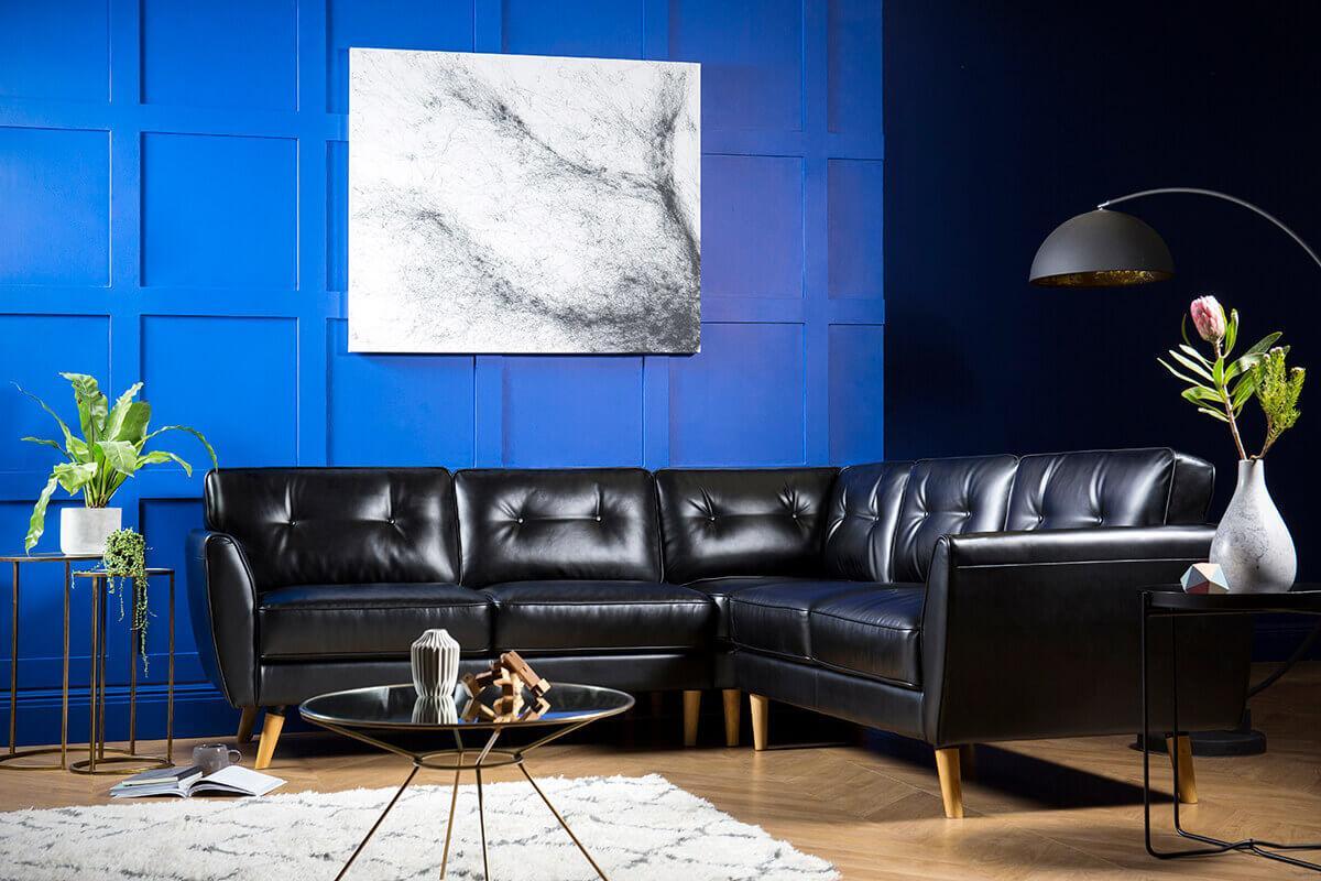 Harlow Black Leather Corner Sofa