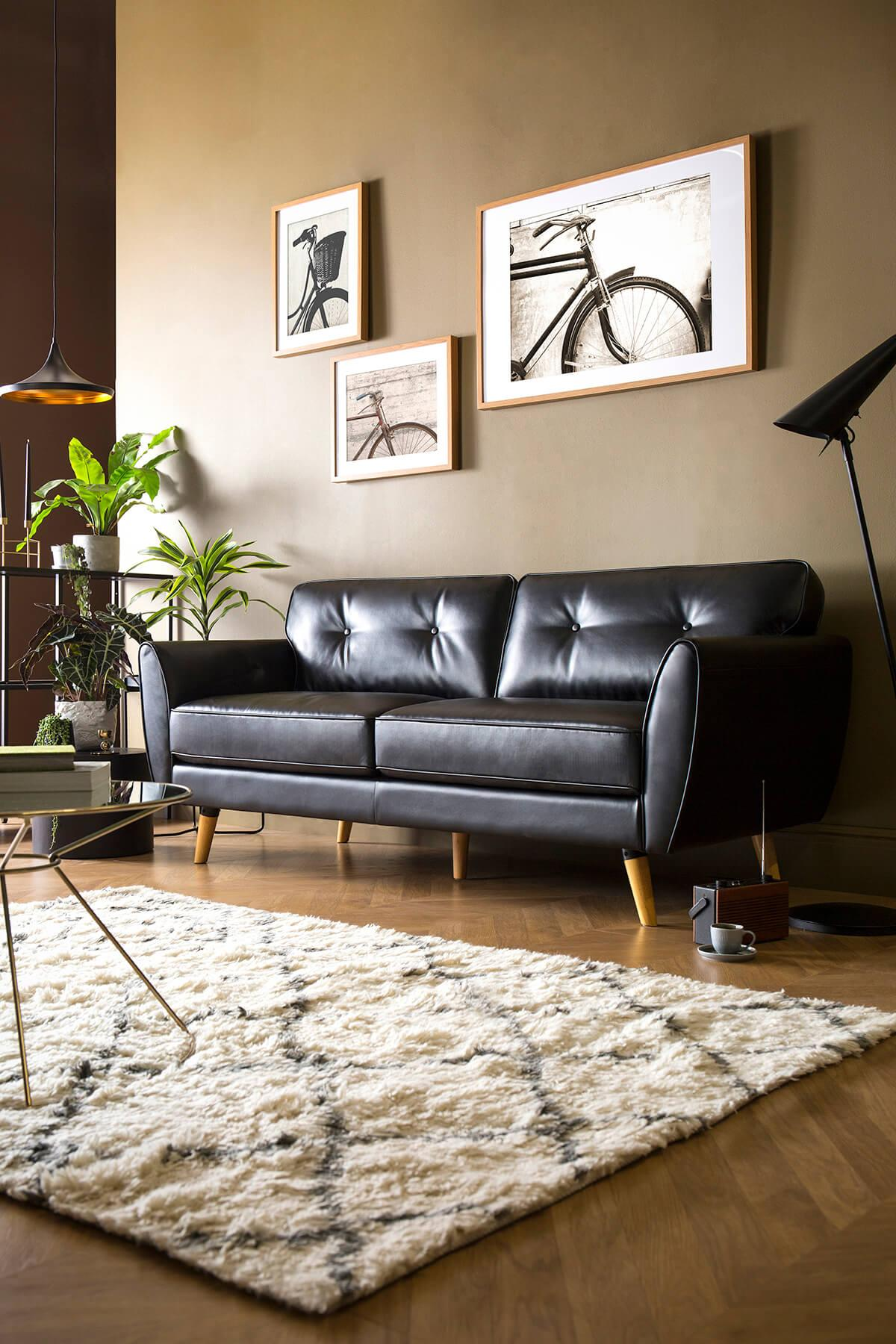 Harlow Black Leather Sofa - 3 Seater
