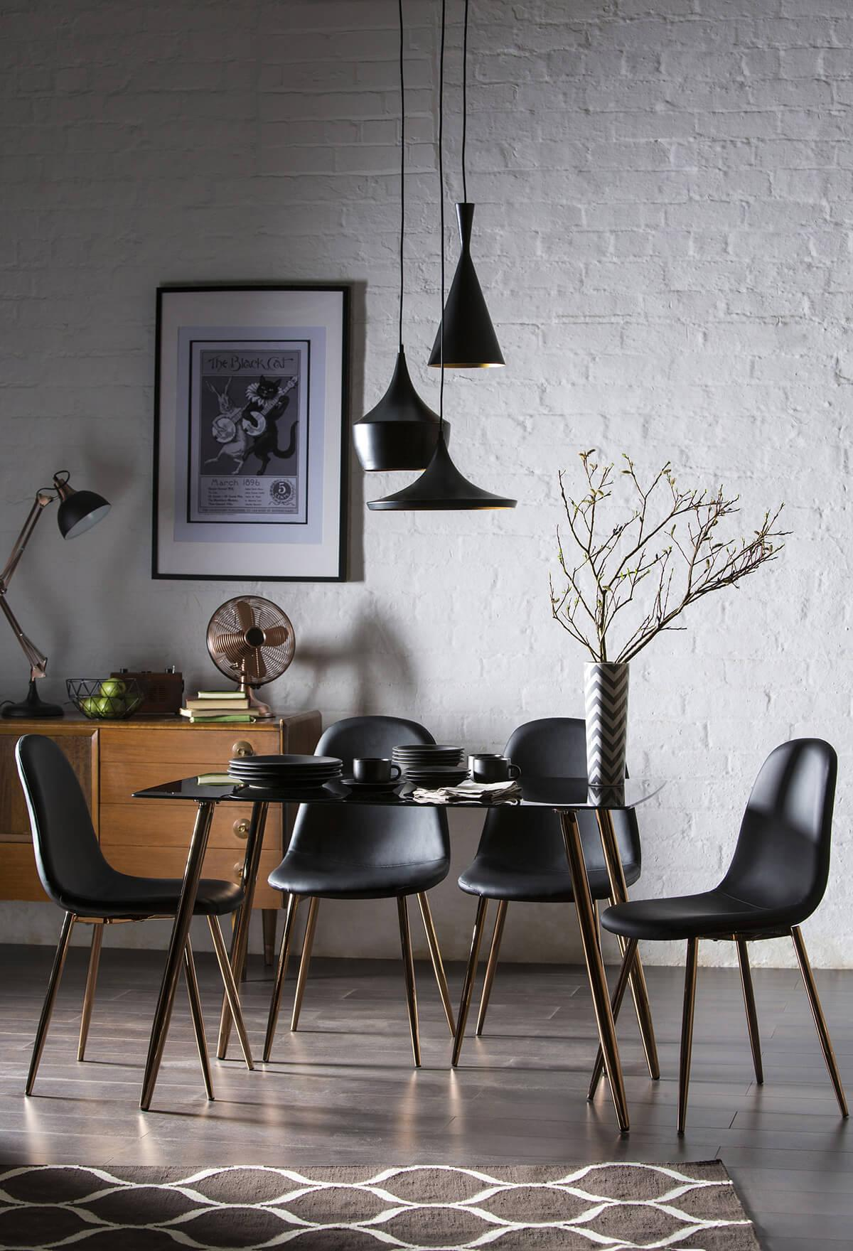 Horizon Black Glass Dining Table - with 4 Brooklyn Chairs (Copper Legs)