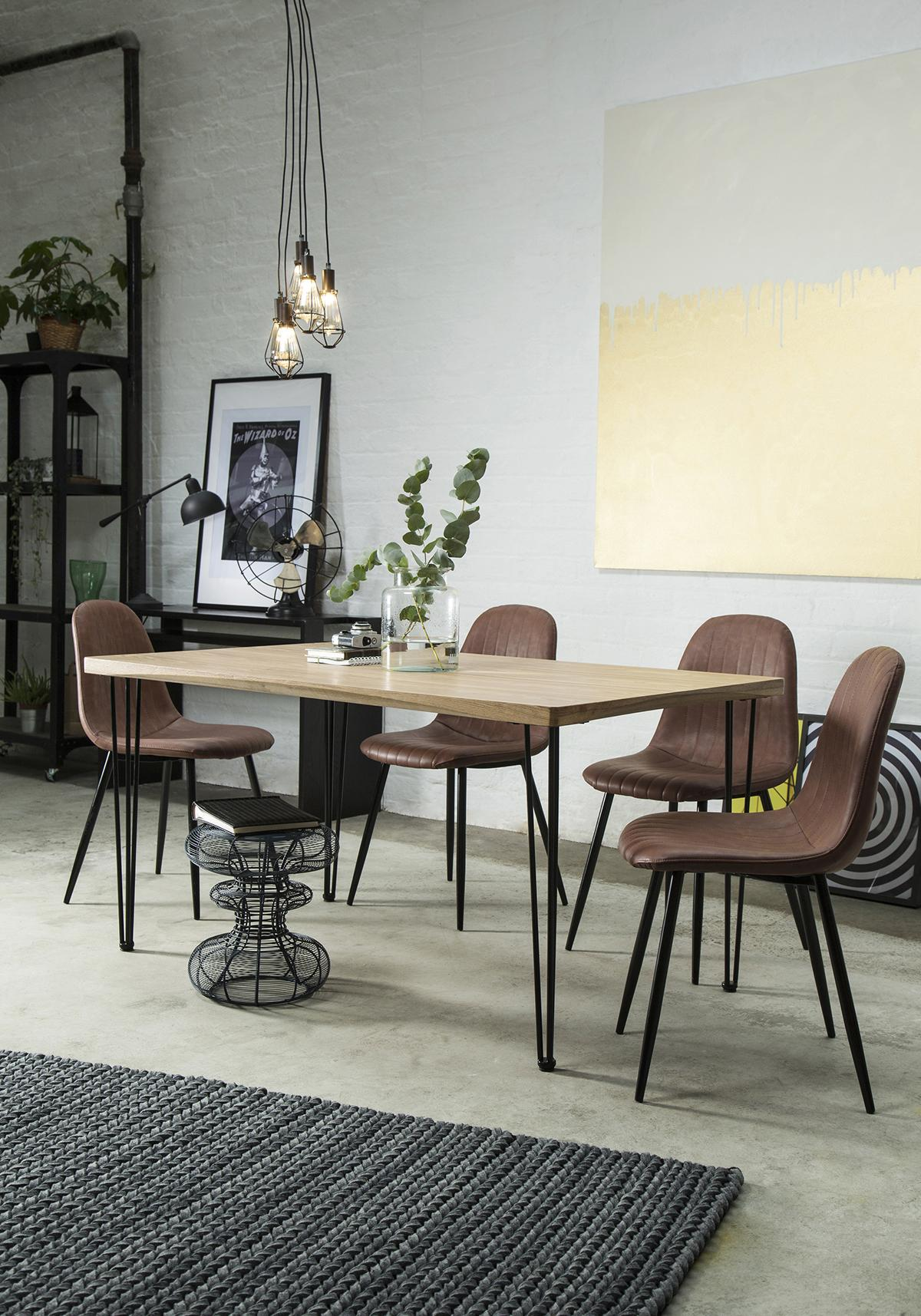 Bronx 150cm Oak Dining Table - with 4 Brooklyn Tan Chairs