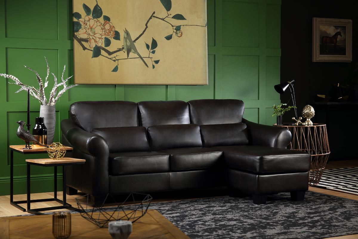 Bristol Black Leather Corner Sofa - L Shape