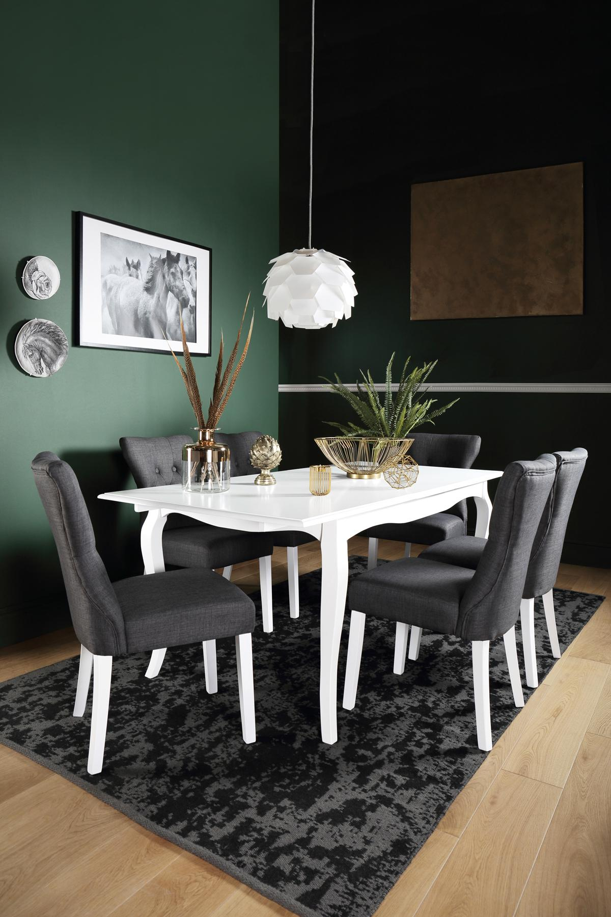 Clarendon White Extending Dining Table - with 6 Bewley Slate Chairs