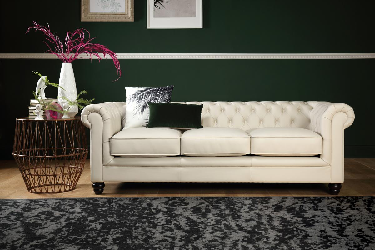 Hampton Ivory Leather Chesterfield Sofa - 3 Seater