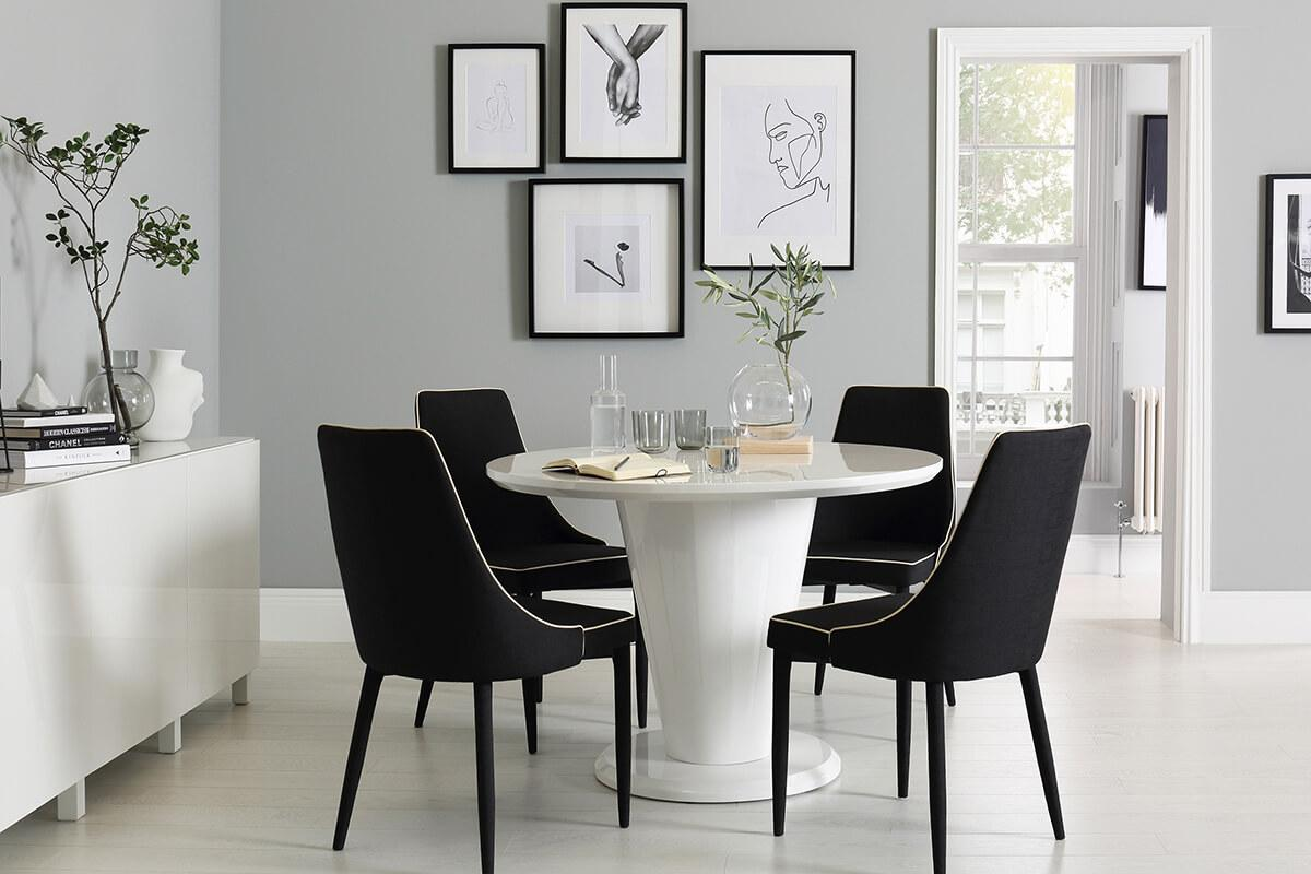 Paris Round White High Gloss Dining Table with 4 Modena Black Chairs