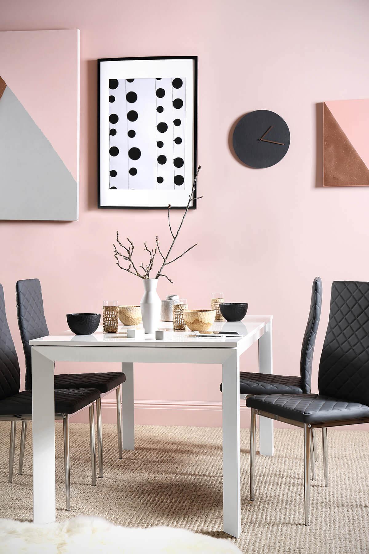 Avon White High Gloss Extending Dining Table - with 4 Renzo Grey Chairs