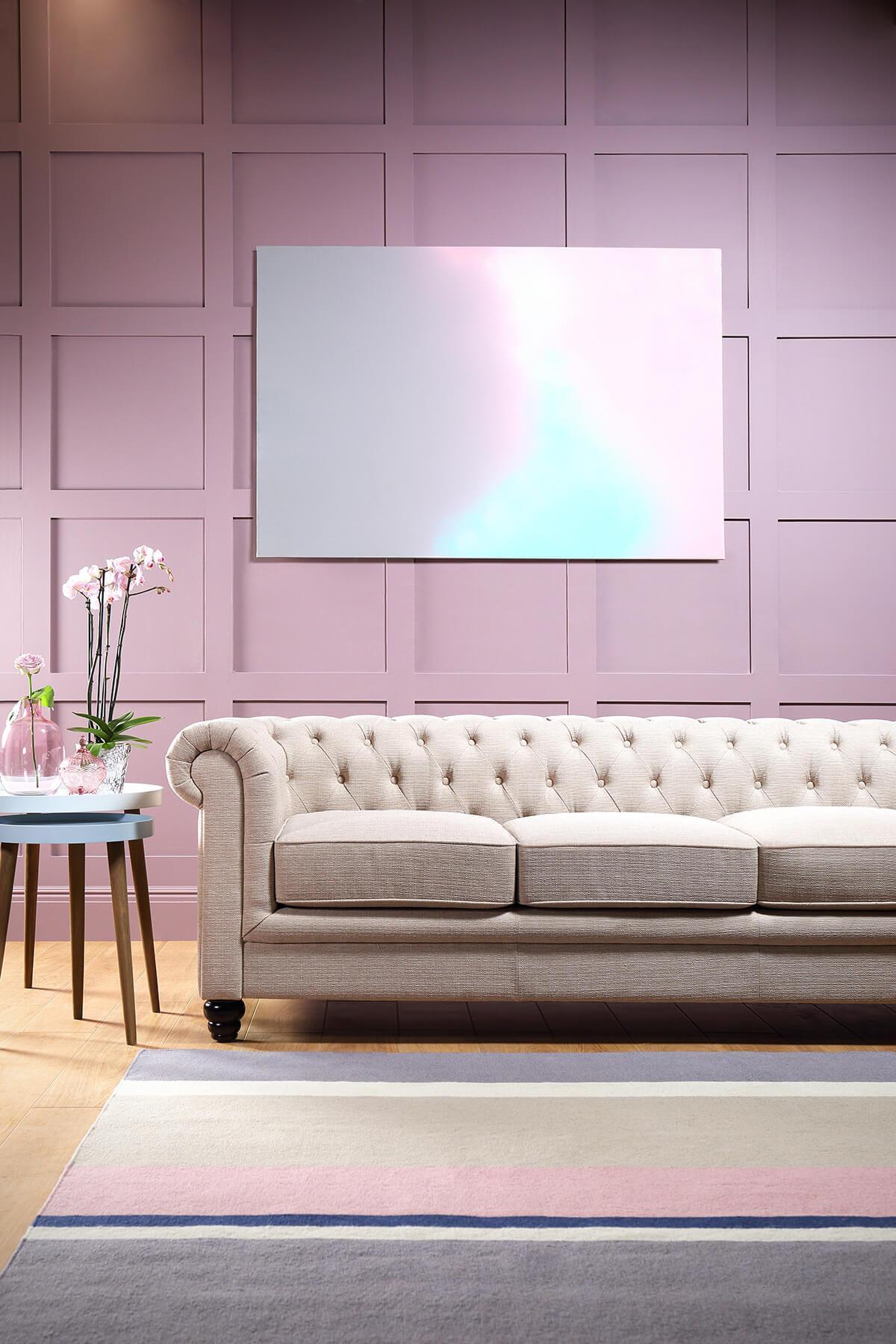 Hampton Oatmeal Fabric Chesterfield Sofa - 3 Seater
