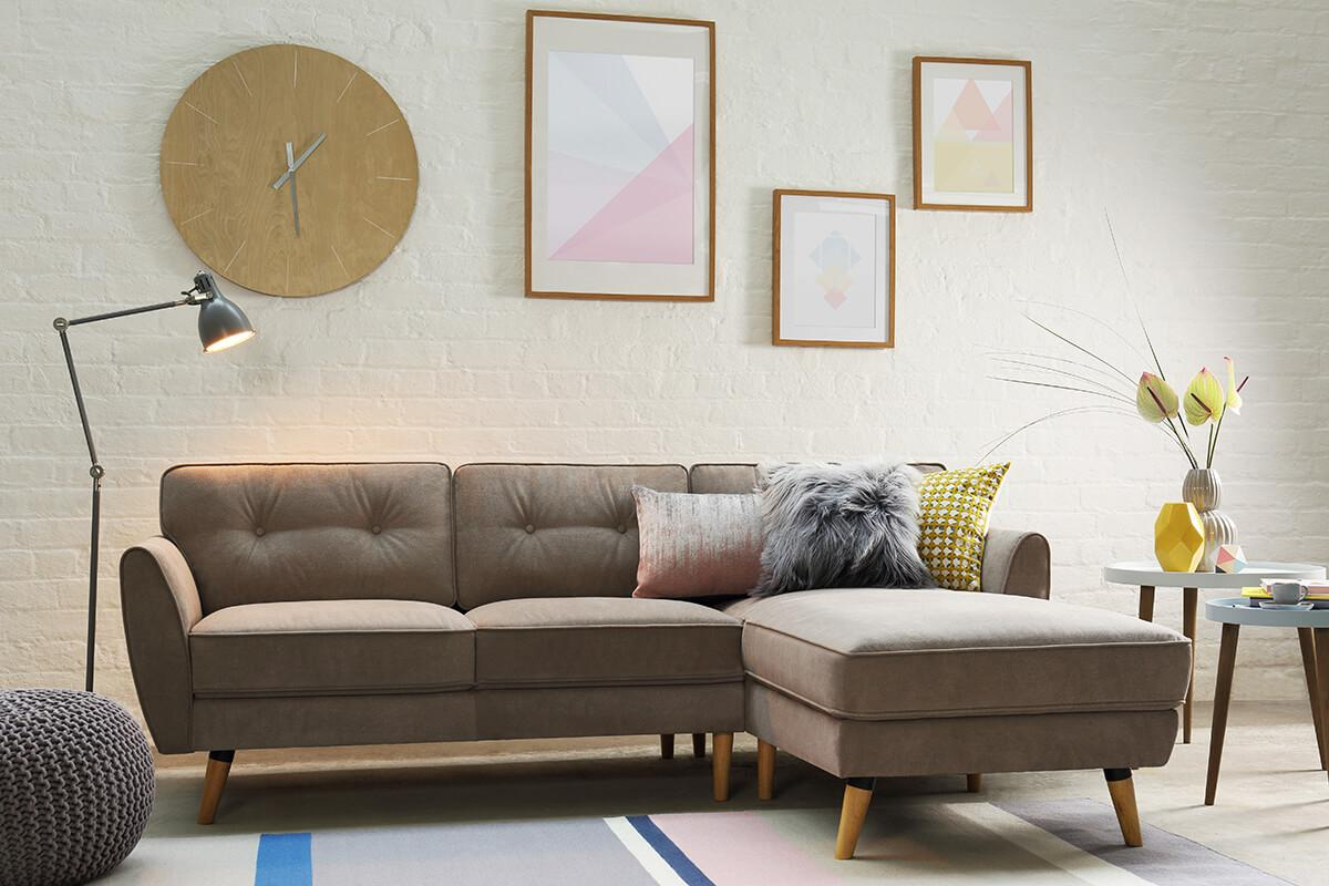 Harlow Oatmeal Fabric L Shape Corner Sofa - RHF