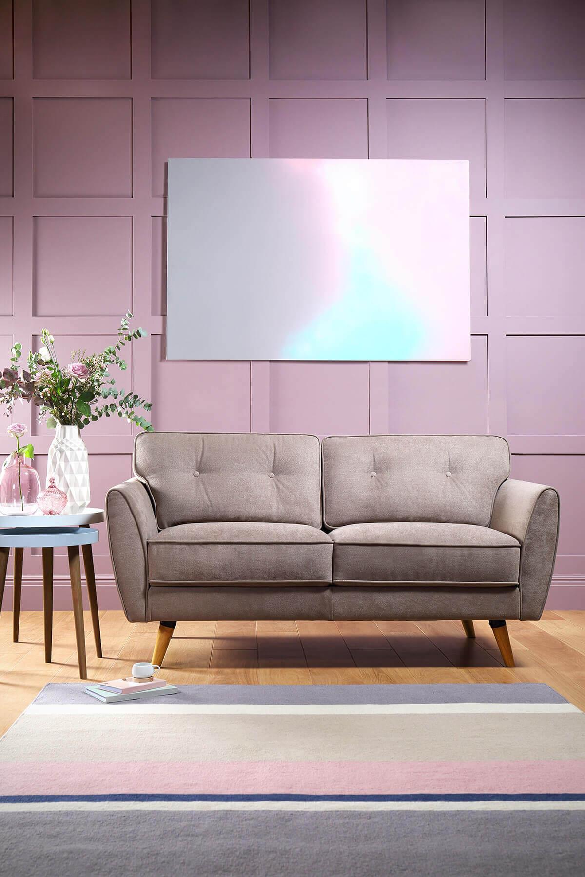 Harlow Oatmeal Fabric Sofa - 2 Seater