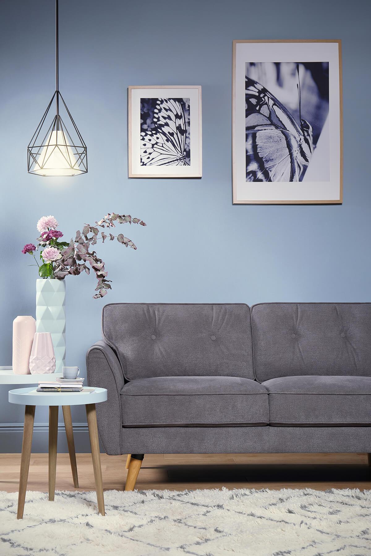 Harlow Slate Grey Fabric Sofa - 3 Seater