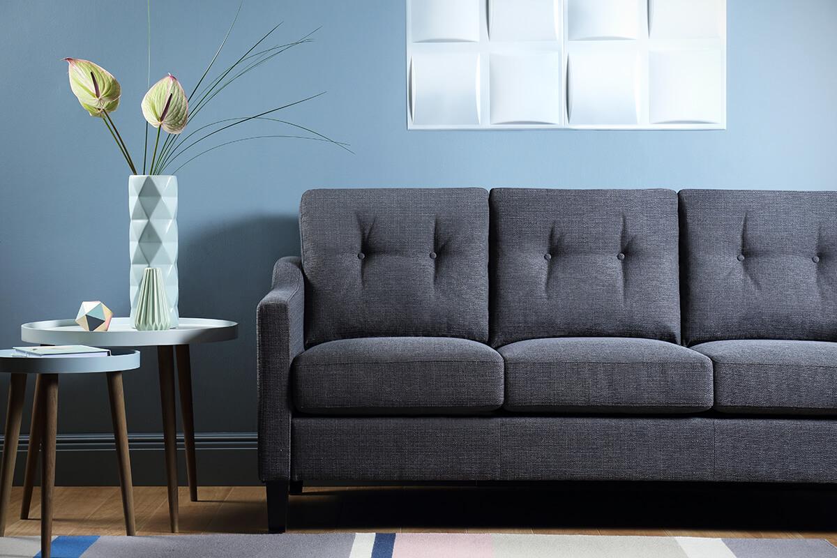 Hepburn Slate Fabric Sofa - 3 Seater