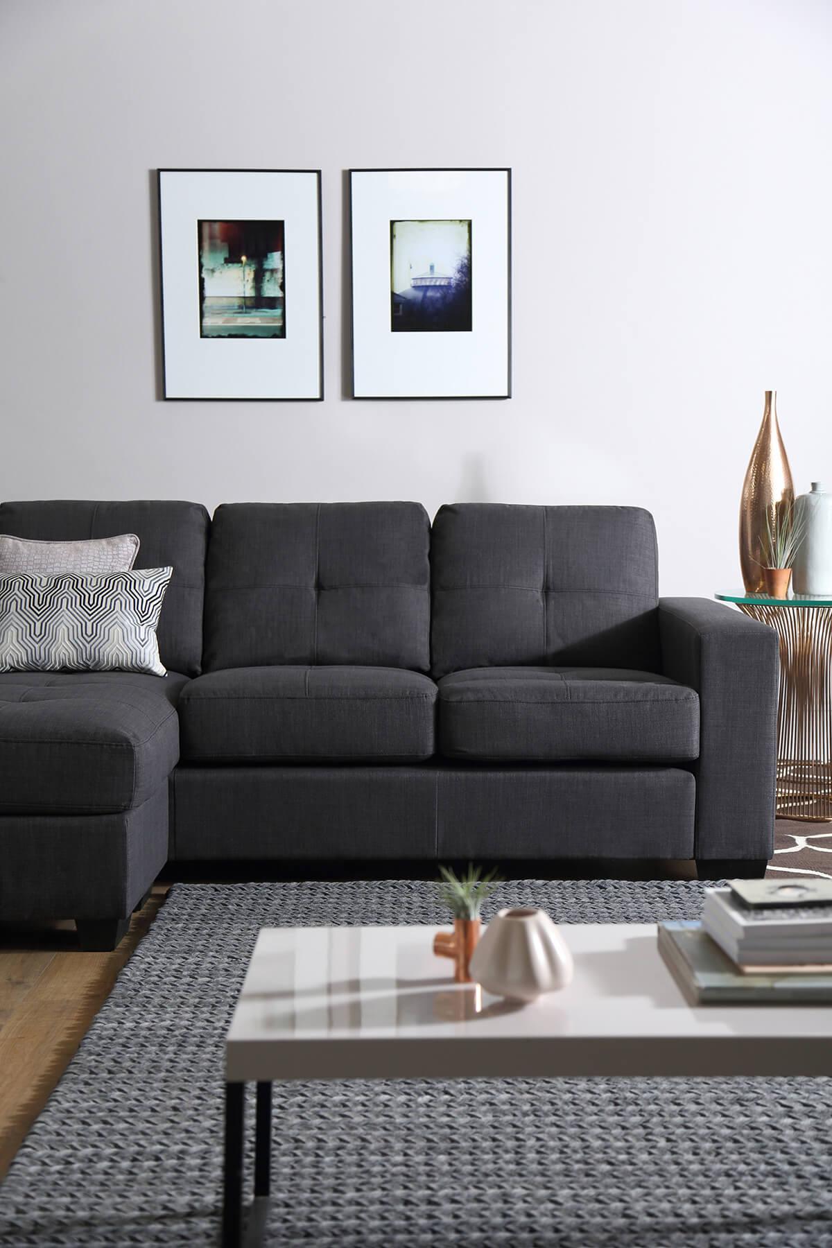 Rio Fabric Corner Sofa - Slate