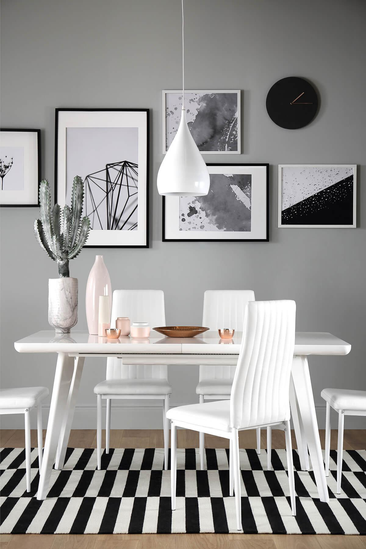 Vila White High Gloss Extending Dining Table - with 6 Leon White Chairs (White Legs)