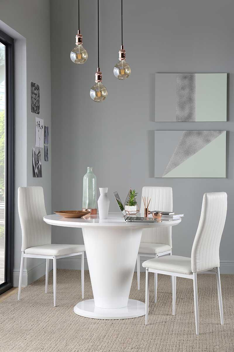Paris Round White High Gloss Dining Table - with 4 Leon White Chairs (White Legs)