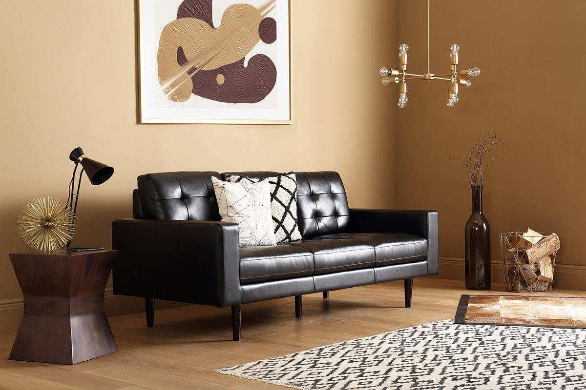 Carlton Black Leather Sofa 2 Seater