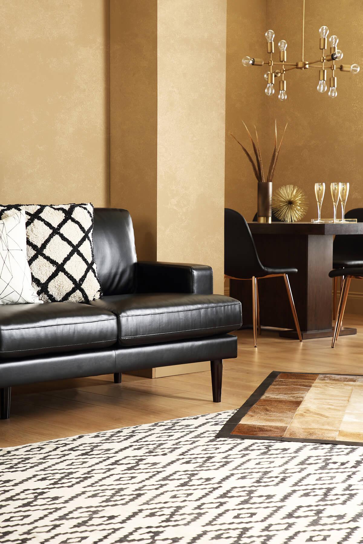 Finsbury Black Leather Sofa 2 Seater