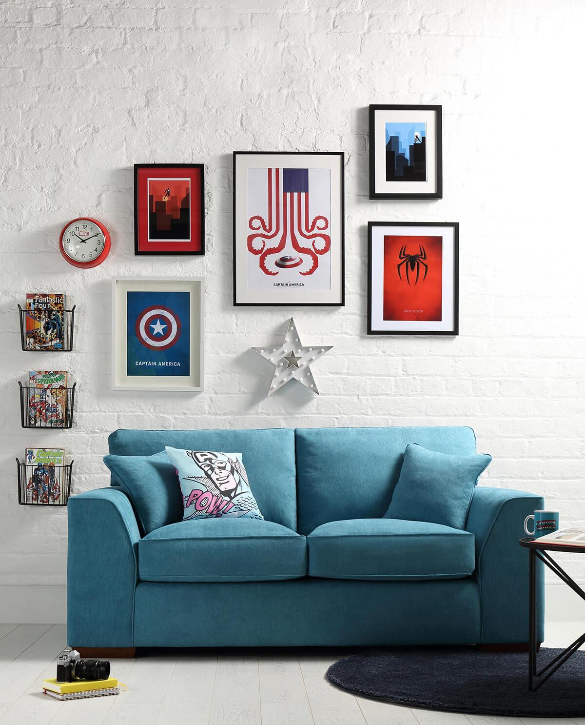 Newark Teal Fabric Sofa - 3 Seater