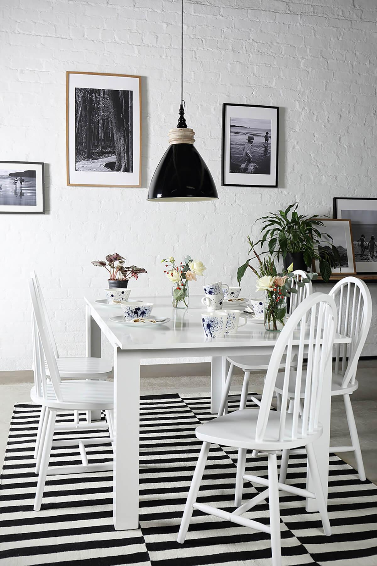 Aspen White Extending Dining Table - with 6 Windsor Chairs