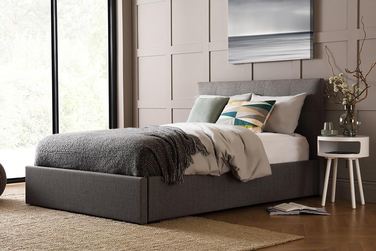 Kaydian Hexham Elephant Grey Fabric Storage Bed - Double