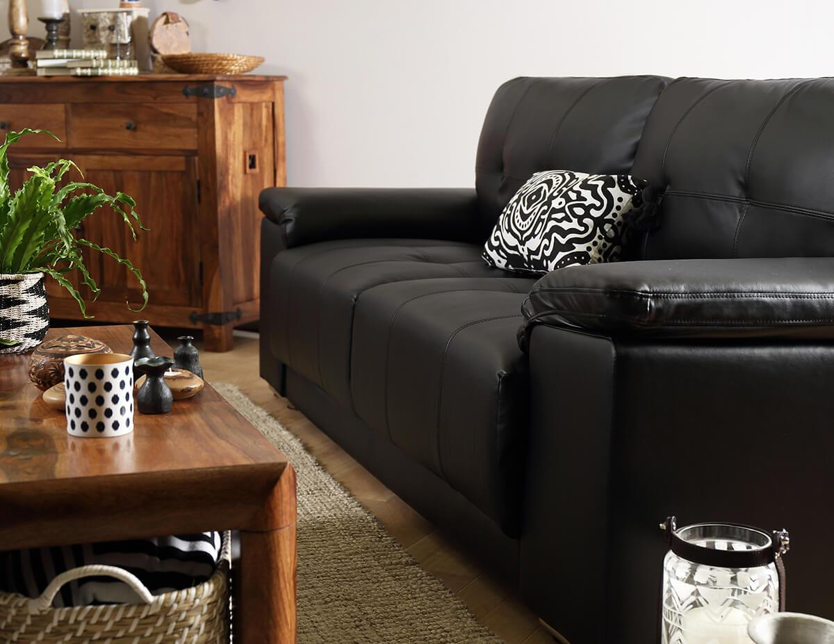 Kansas Black Leather Sofa - 3 Seater