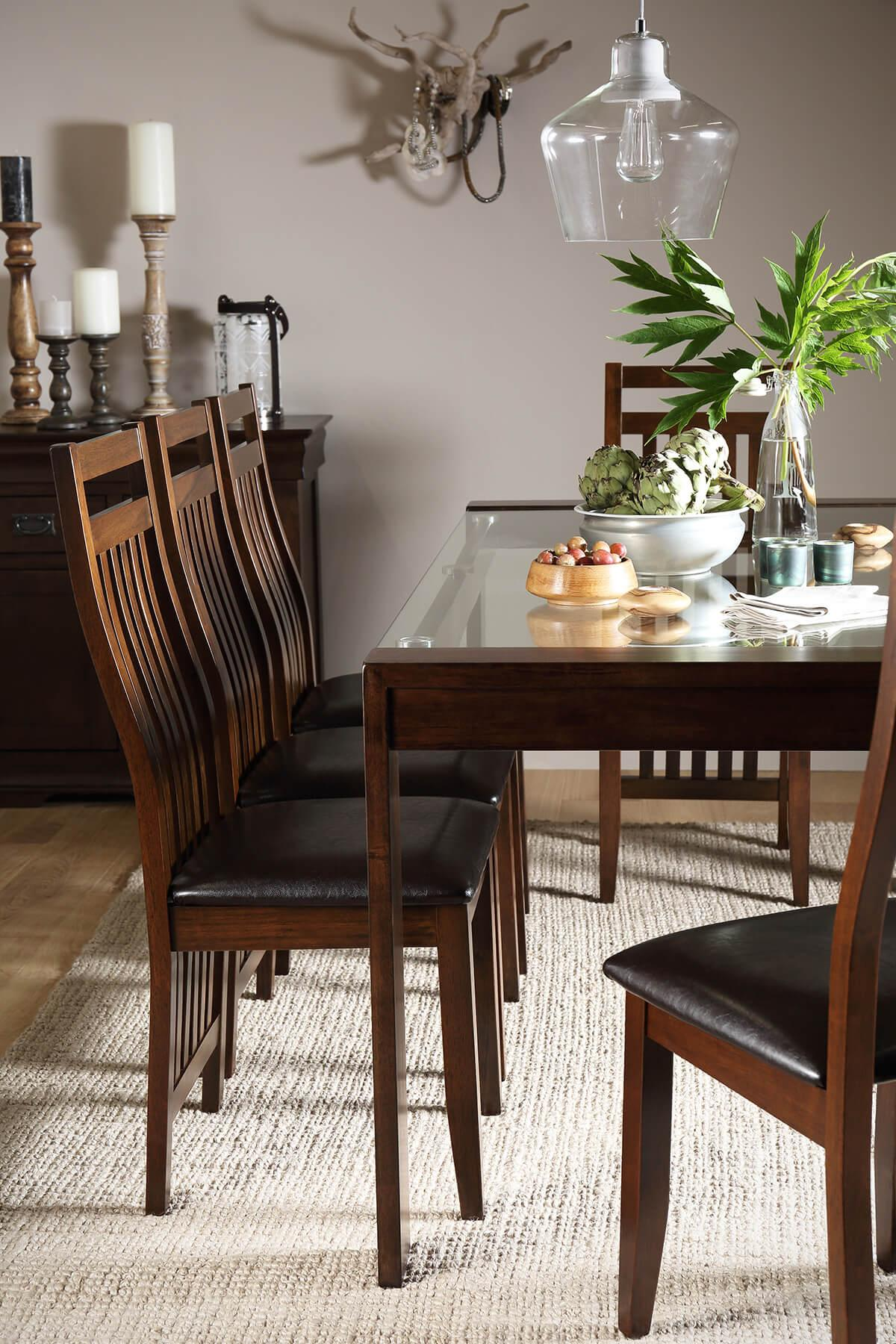 Tate 180cm Dark Wood and Glass Dining Table - with 6 Java Chairs (Brown Seat Pad)