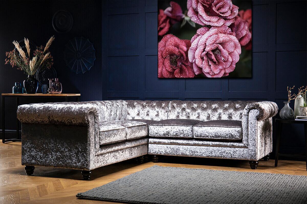 Hampton Silver Crushed Velvet Chesterfield Corner Sofa