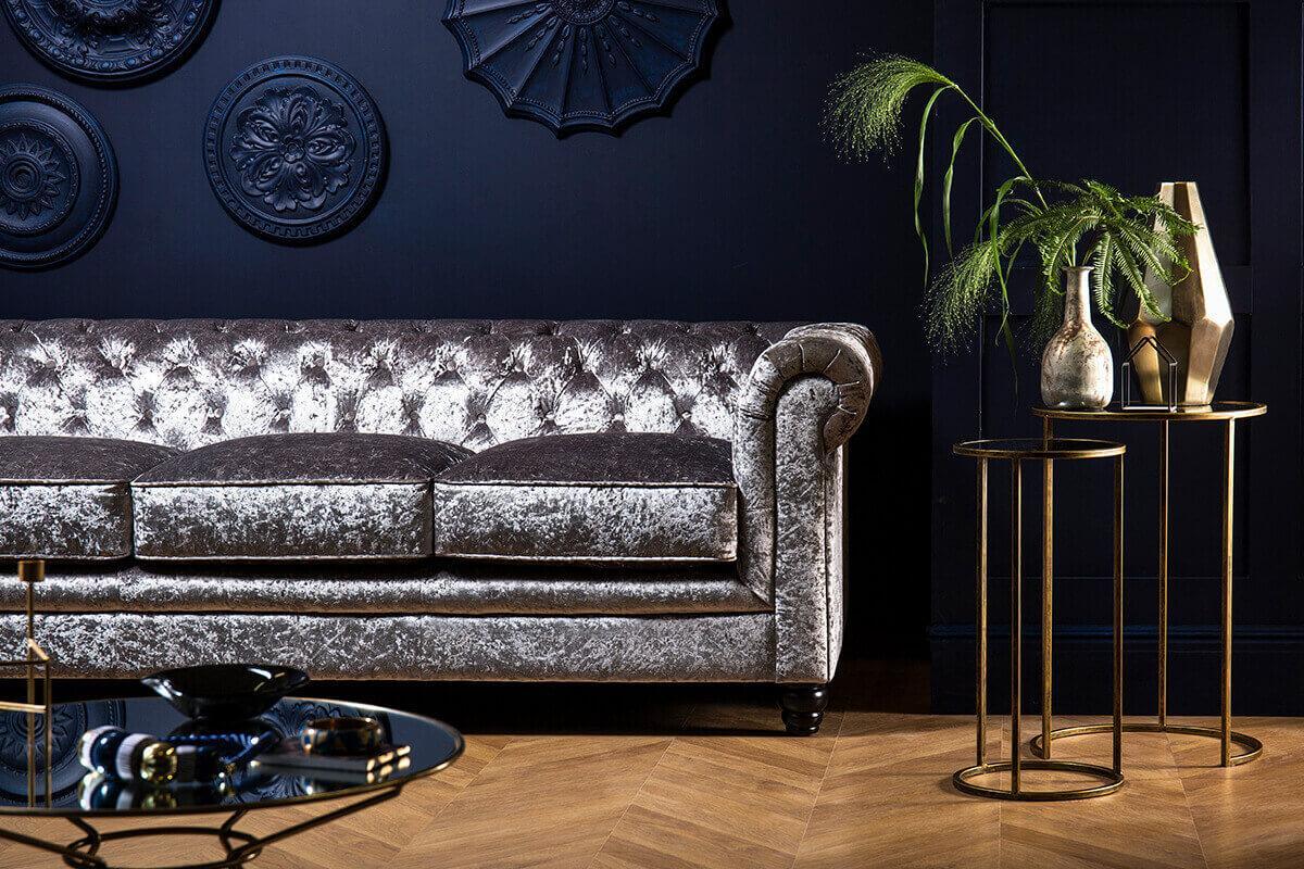 Hampton Silver Crushed Velvet Chesterfield Sofa - 3 Seater