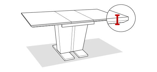 Table edge thickness