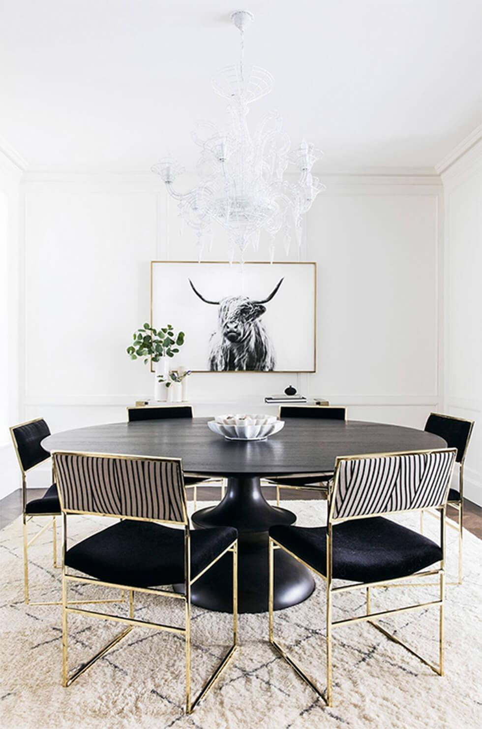 white dining room with modern dining set