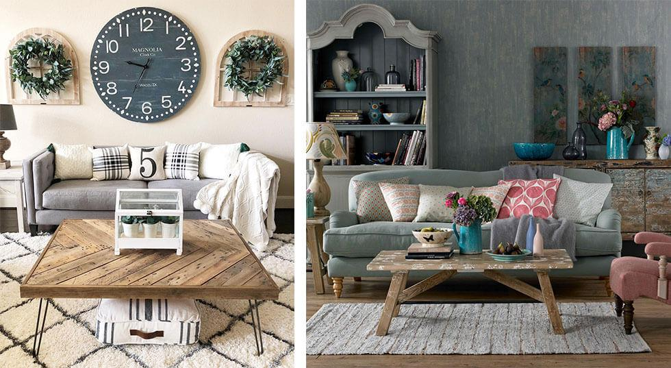 Large grey farmhouse style clock in a classic living room.
