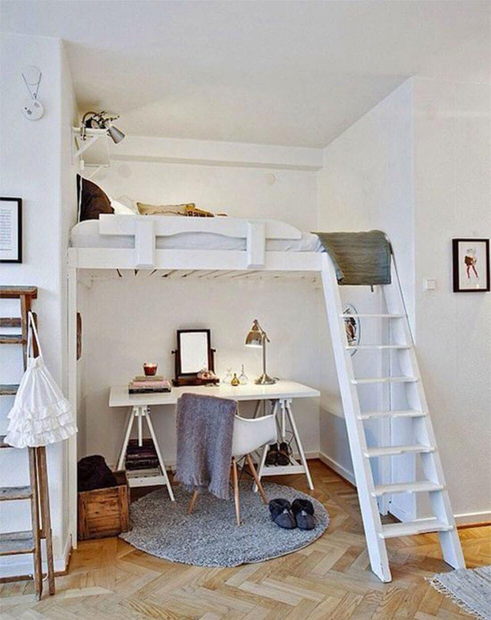 Loft bedroom with a white mezzanine bed