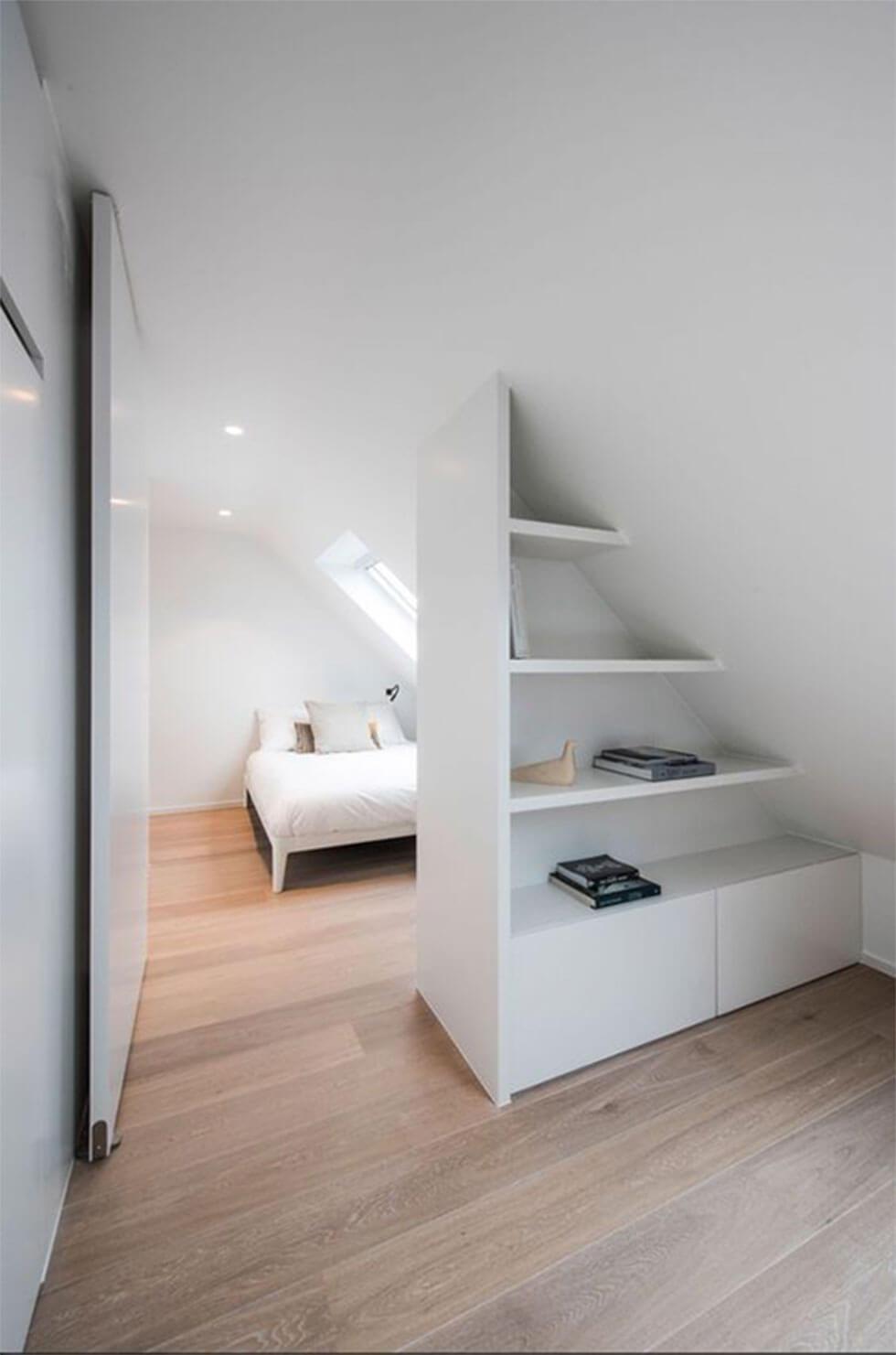 Minimalist and white loft bedroom