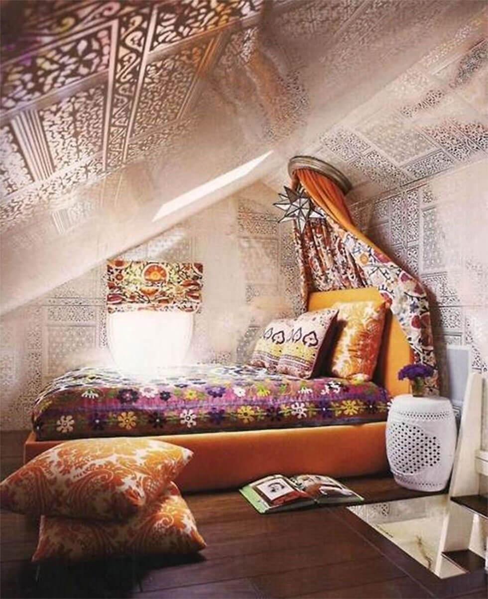 Loft bedroom in a bohemian style