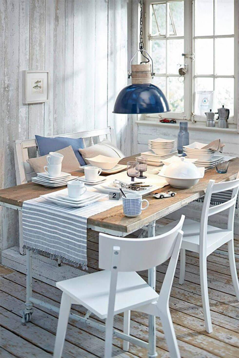 coastal style blue and grey dining room