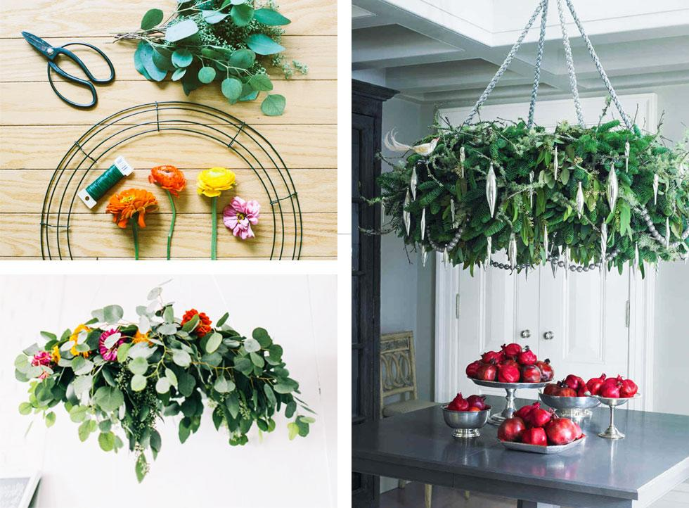 Collage of chandelier wreaths.