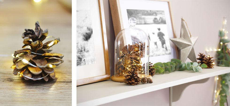 Collage of acorns with fairy lights and a bell jar.