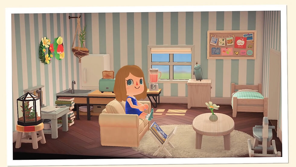 Animal crossing house with sofa in the centre of the room